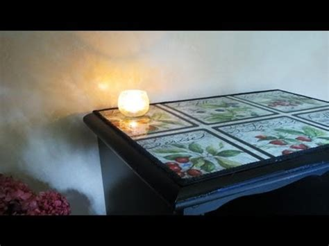 Decoupage Glass Table Top - how to decoupage furniture with fabric