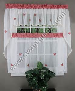 Kitchen Curtains Swags Butterfly Gingham Curtains Blue Lorraine Jabot Swag Kitchen Curtains