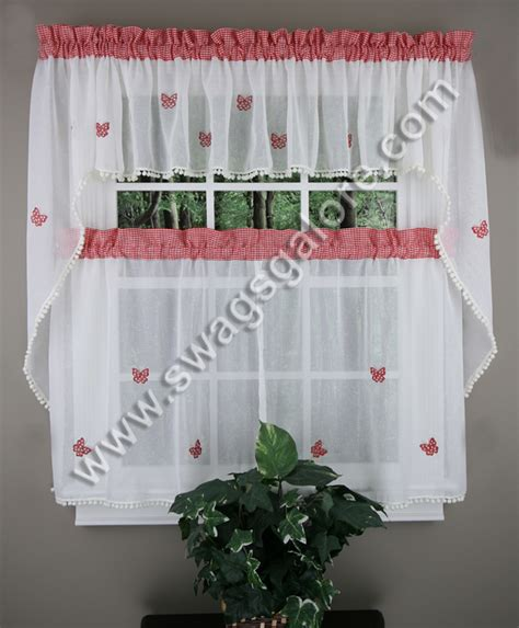 butterfly gingham caf curtains red lorraine jabot swag