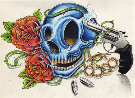 skull rose and gun tattoos skull gun by willemxsm on deviantart