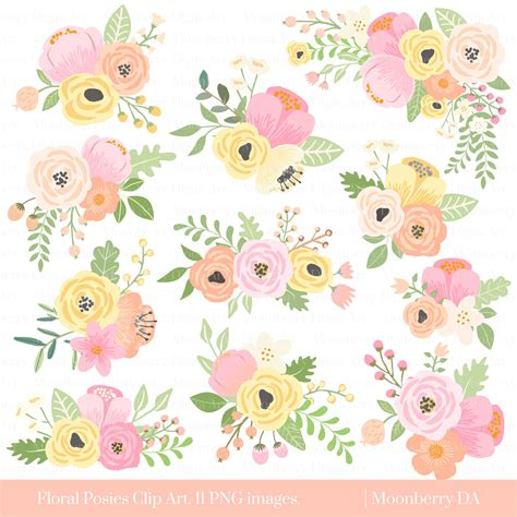 Flower Posies Weddings by Flower Clipart Quot Floral Posies Clipart Quot Wedding Floral