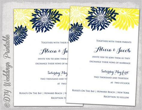 wedding invitation template yellow navy blue diy summer wedding invitations quot flower burst