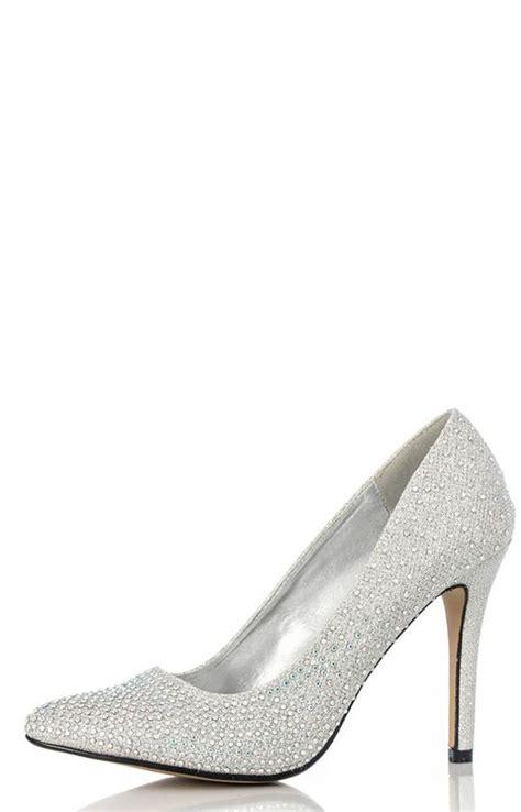quiz silver diamante point court shoes shopstyle co uk
