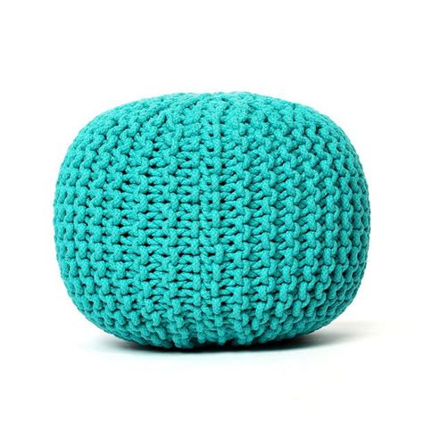 blue knitted pouffe the world s catalog of ideas