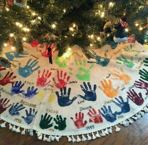 the best and footprint ideas kitchen with - Handprint Tree Skirt