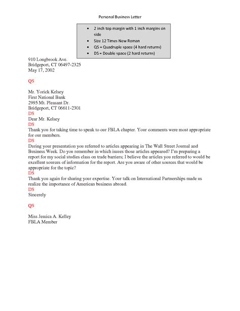 Personal Business Letter In Modified Block Format personal business letter modified block format letter