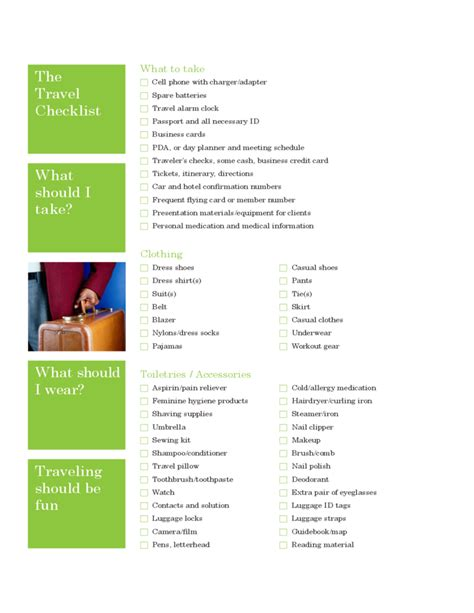 travel checklist printable forms travel checklist sle template free download