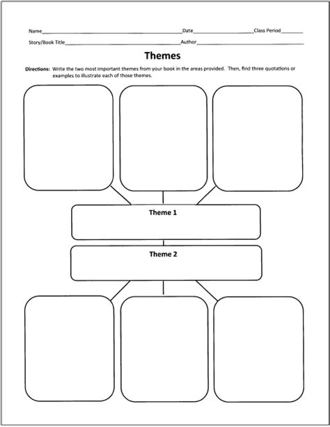 theme exles for high school free graphic organizers for teaching literature and reading