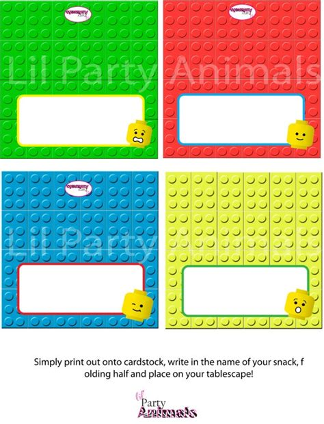 printable lego tags diy printable builder party tented food labels by