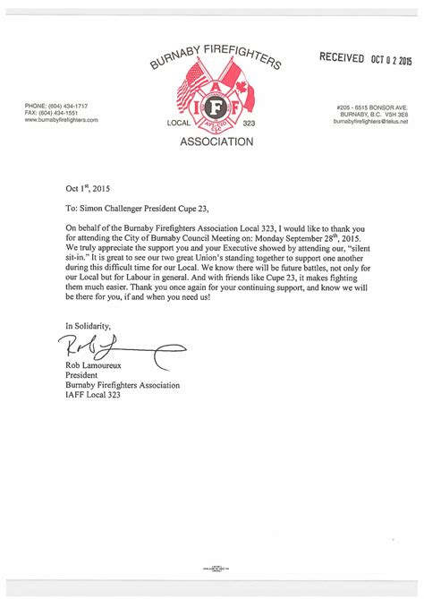 Thank You Letter For Firefighter Cupe 23 Burnaby Civic Employees Union