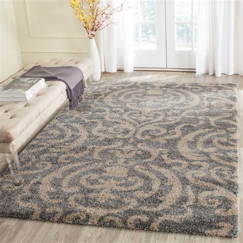 Safavieh Florida Shag Gray Beige 8 Ft 6 In X 12 Ft Area 9 Foot Rugs