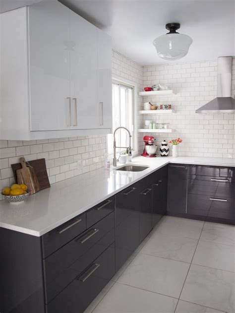 Black Kitchen Cabinets White Subway Tile black cabinets white glass subway tile home decorating diy
