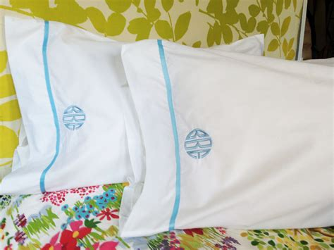 monogrammed bed pillows monogram king pillow cases with ribbon trim monogram bedding