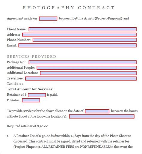 photography contract template pdf 25 best photography contract ideas on