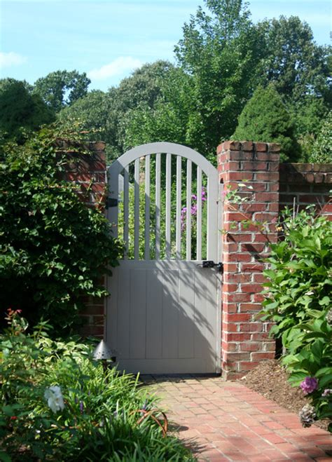 Painted Wood Garden Gate With Brick Wall Traditional Garden Walls And Gates
