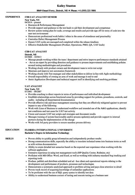 analyst test resume sles velvet great uat sign template contemporary professional