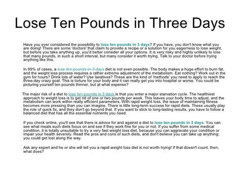How To Lose A In 10 Days Shower by Lose Ten Pounds In Three Days