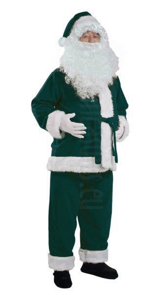 dark green santa suit jacket trousers and hat santa suits