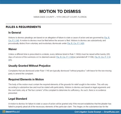 motion to dismiss template motion to dismiss in florida circuit court at a glance