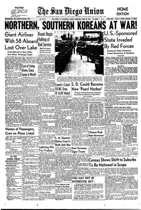 June 25, 1950: North Korea declares war - The San Diego