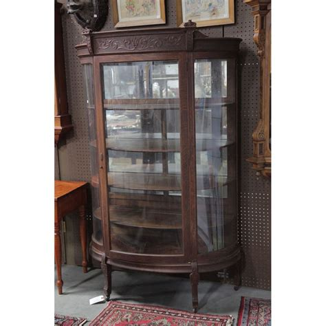 china cabinet in antique oak china cabinet curved glass antique furniture