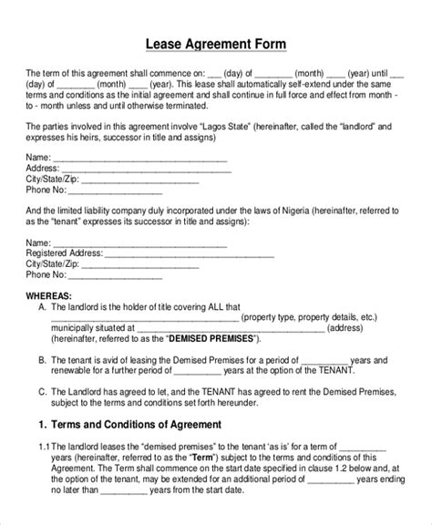 lessor lessee agreement template blank rental agreement template sle blank lease