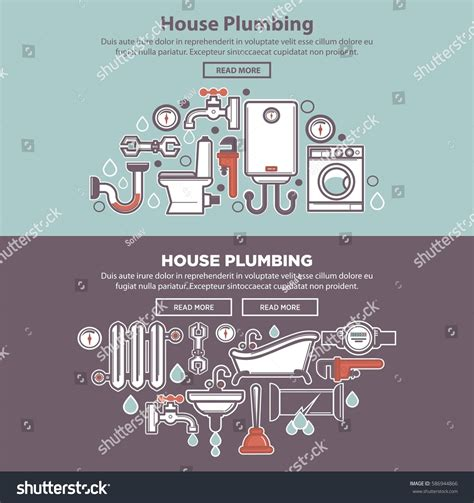 necessary things for house house plumbing colorful web poster tubes stock vector