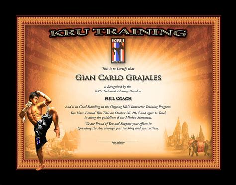 kru muay thai full coach certificate martial arts