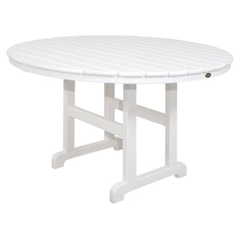White Patio Dining Table by Trex Outdoor Furniture Monterey Bay 48 In Classic White