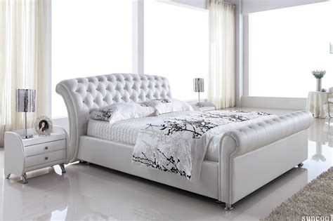 white bed queen leather white queen size bed frame quot platinum quot high bedend