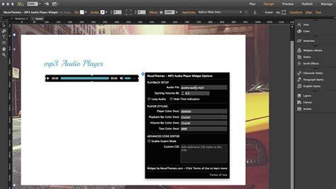 tutorial audio fx widget musethemes com mp3 audio player widget adobe muse cc