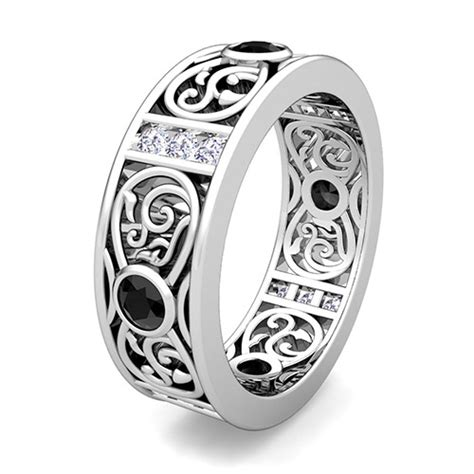 black and white celtic wedding band ring in platinum