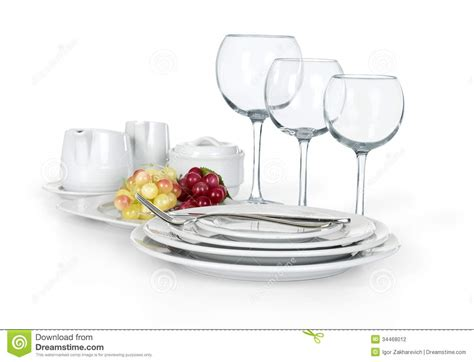 kitchen set of cups plates and jars stock photography