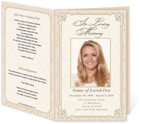 memorial program templates free 8 best images of free printable funeral service templates