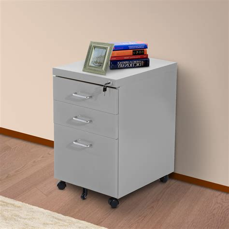 Metal Storage Drawers Cabinets by Homcom 3 Drawers Metal Filing Cabinet Lockable W Wheels