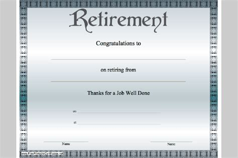 retirement certificate template retirement certificate template sle templates