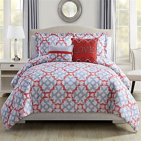 coral and gray bedding love comforter set in coral grey bed bath beyond