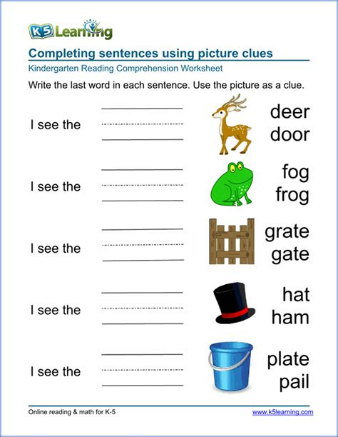 free preschool amp kindergarten reading comprehension