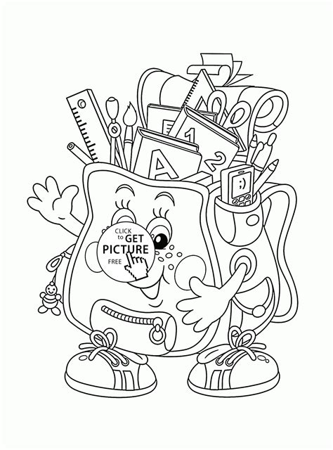 coloring supplies school bag and supplies coloring page for back to
