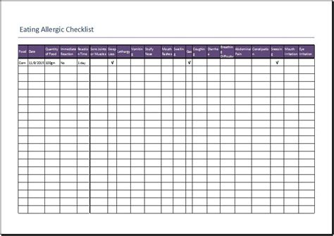 eating allergic checklist template for excel word