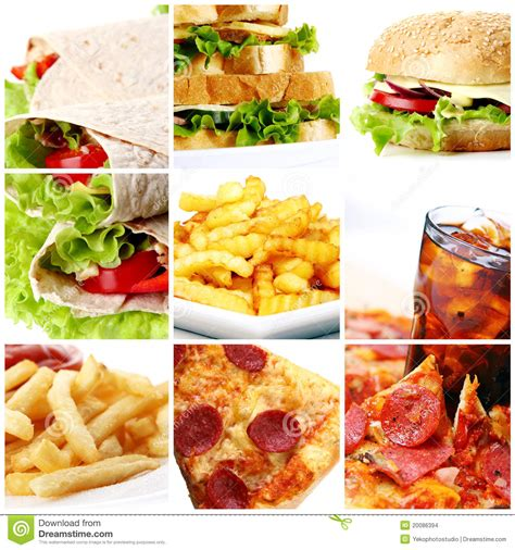 Fast Food Collage Stock Photo Image Of Background Lunch Fast Food Collage