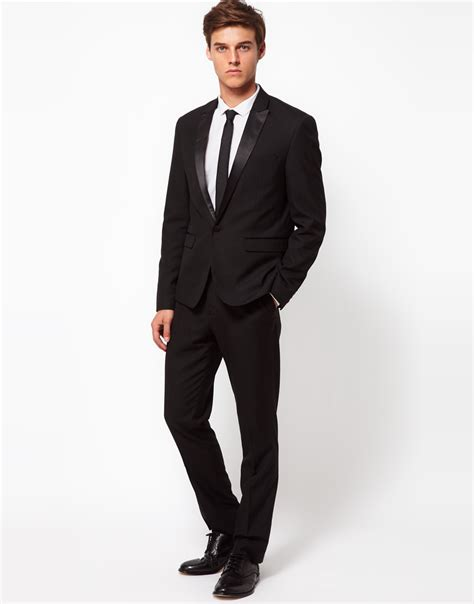 Outerware Blazer lyst asos slim fit tuxedo suit jacket in black for