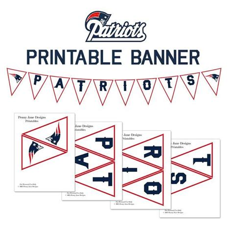 printable football banner patriots printables new england patriots printable