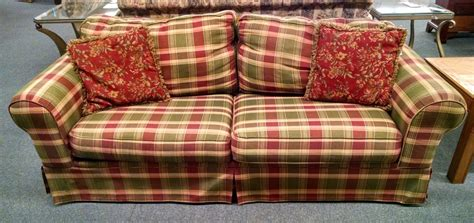blue plaid sleeper sofa plaid sleeper sofa delmarva furniture consignment