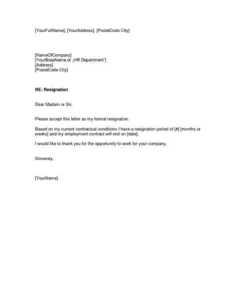 Contract End Letter resignation letter format sweet fill in sle of