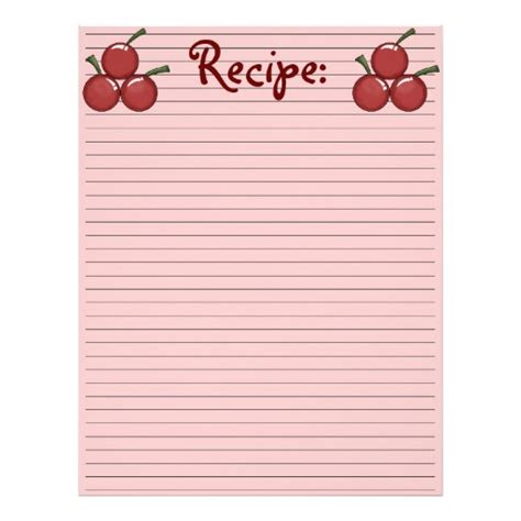 Paper Recipe - cherry recipe paper letterhead template zazzle