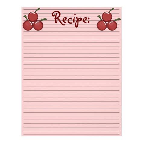 recipe paper template cherry recipe paper letterhead template zazzle