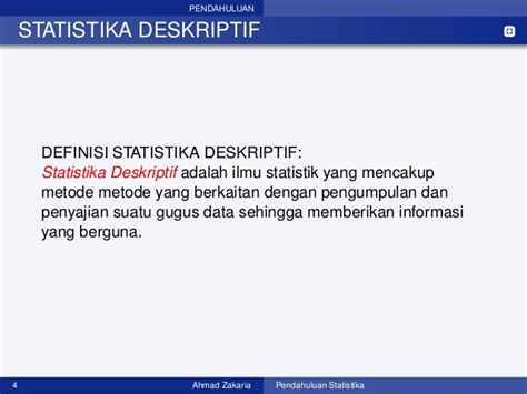 Statistika Deskriptif Dan Probabilitas 1 Statistika Dan Probabilitas Pertemuan Ke 1