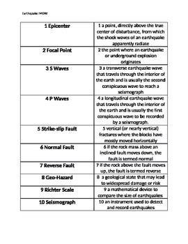 earthquake vocabulary earthquake vocabulary worksheet geersc