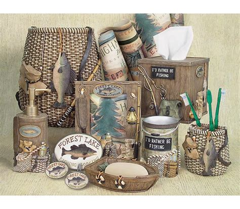 Fishing Bathroom Accessories Fishing Cabin Lodge Bathroom Accessories Rugs Mats Free Shipping And Free Gifts Available